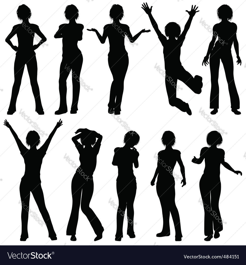 Silhouettes girl vector | Price: 1 Credit (USD $1)