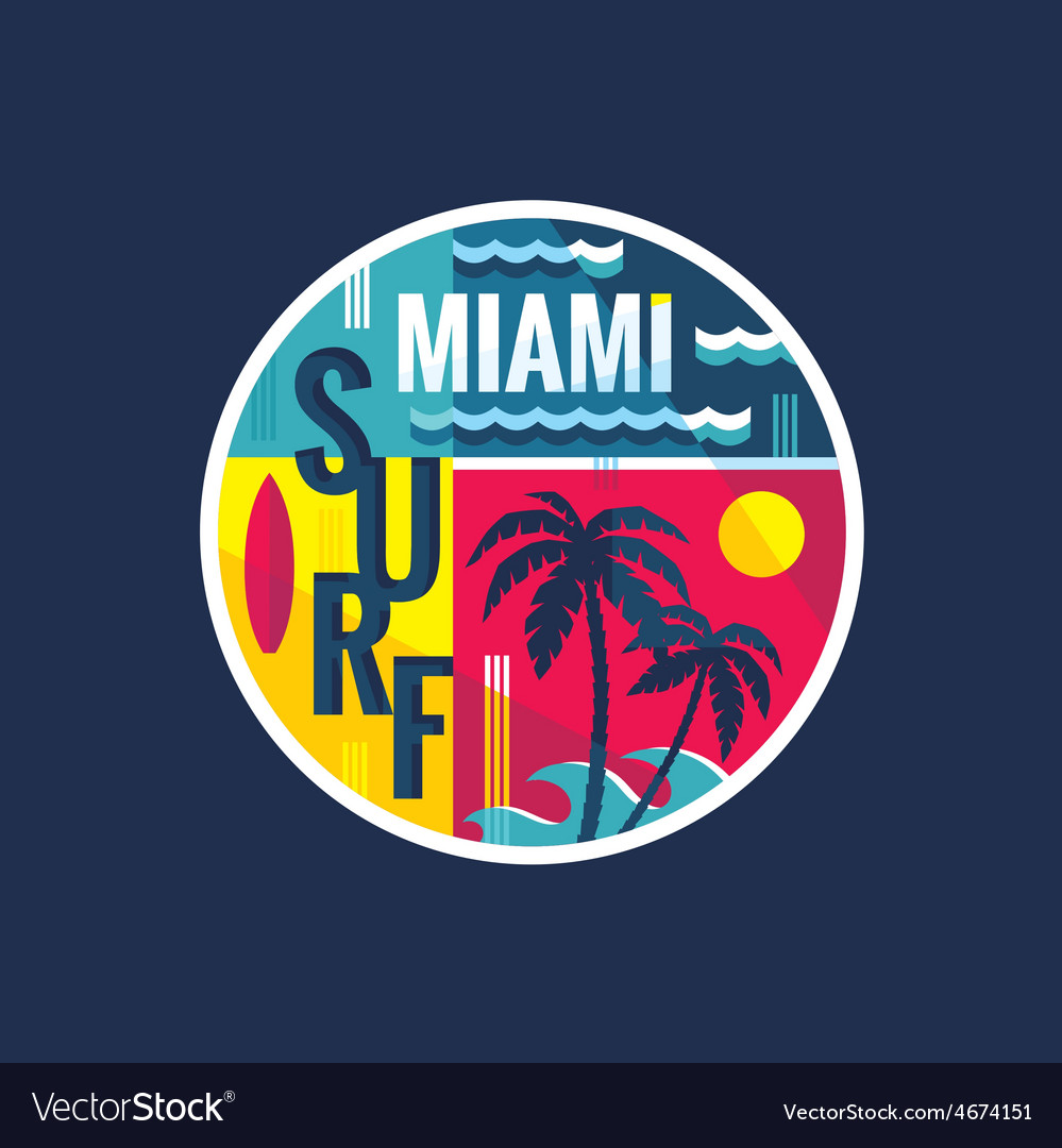 Surf - miami - concept vector | Price: 1 Credit (USD $1)