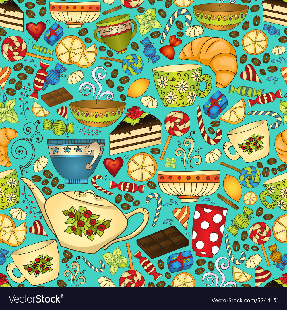 Tea and coffee doodle seamless pattern vector   Price: 1 Credit (USD $1)