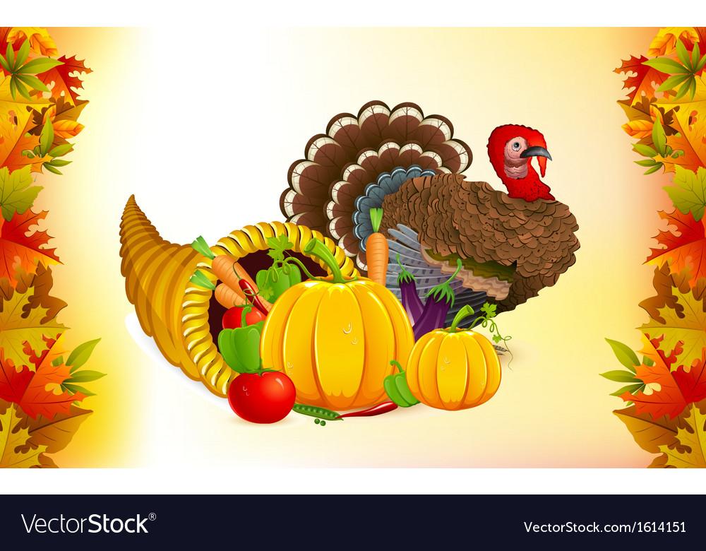 Thanksgiving cornucopia with turkey vector | Price: 1 Credit (USD $1)