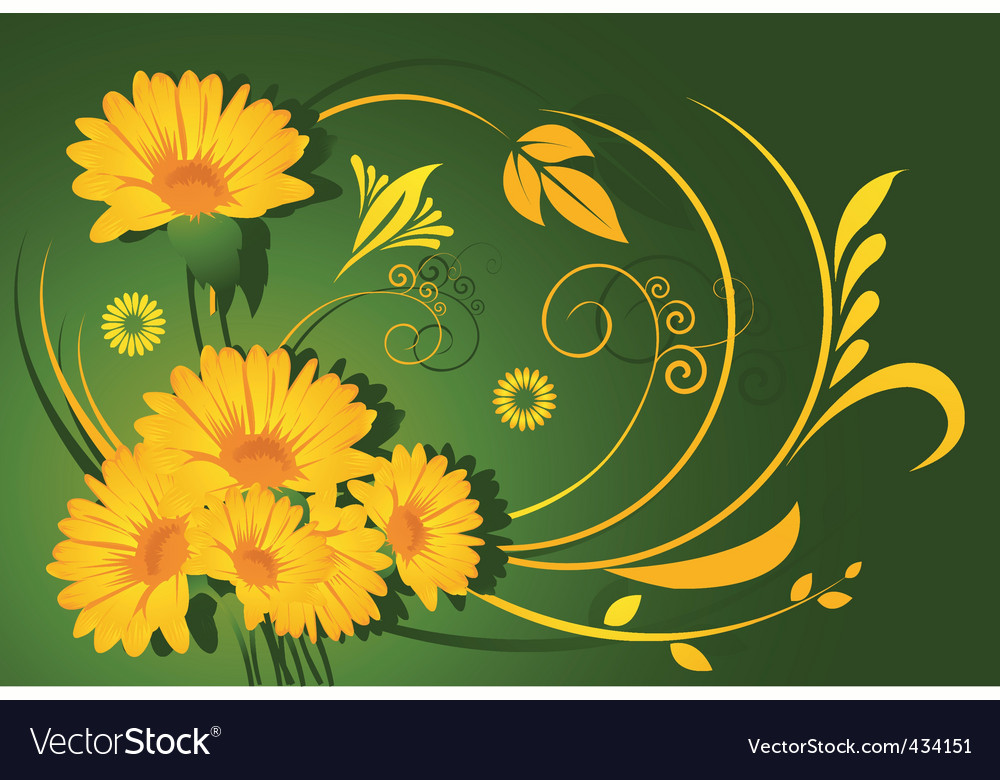 Yellow flowers vector | Price: 1 Credit (USD $1)