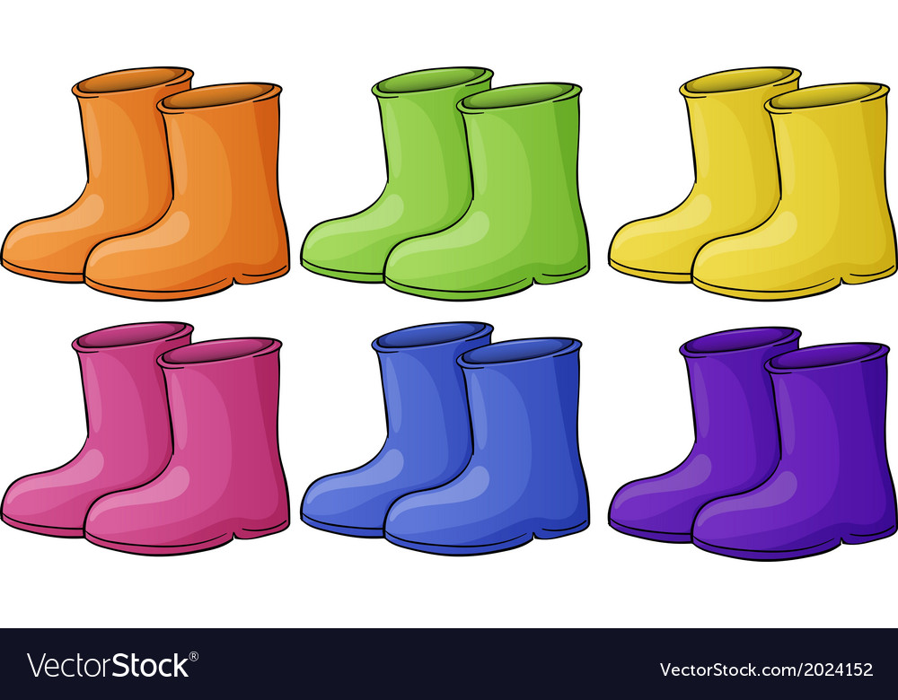 A group of colorful boots vector | Price: 1 Credit (USD $1)