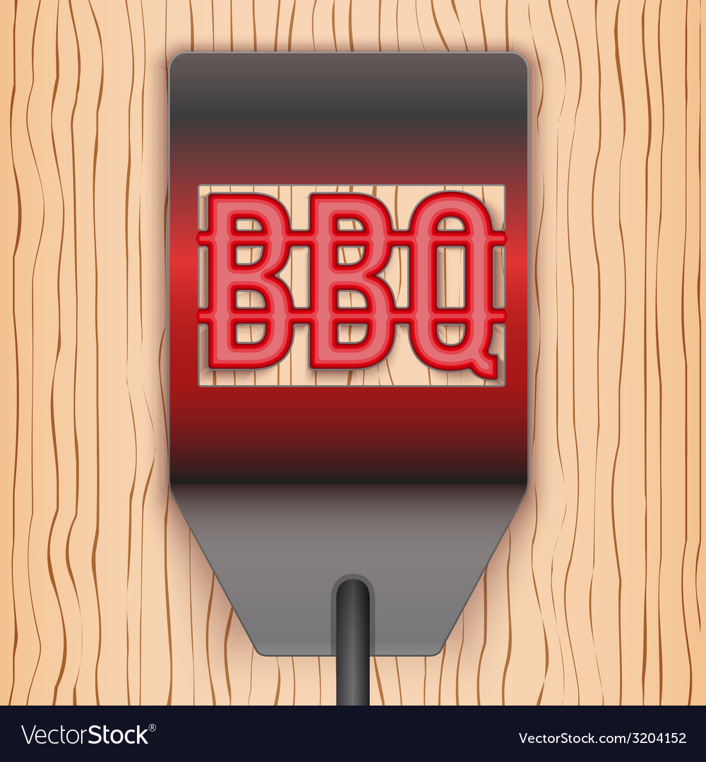 Barbecue hot metal spatula on wooden background vector | Price: 1 Credit (USD $1)