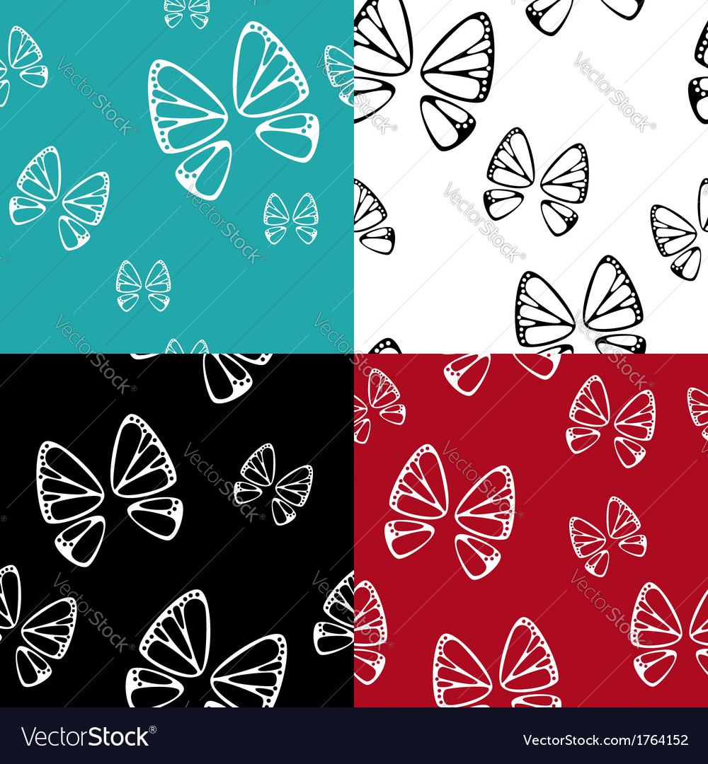 Butterfly pattern set vector | Price: 1 Credit (USD $1)