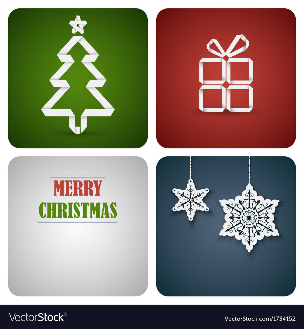 Christmas decoration card made from white paper vector | Price: 1 Credit (USD $1)