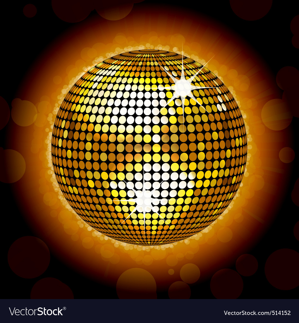 Glowing gold disco ball vector | Price: 1 Credit (USD $1)