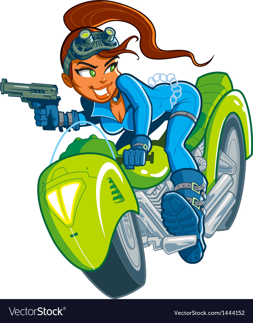 Motorcycle spy girl vector | Price: 1 Credit (USD $1)