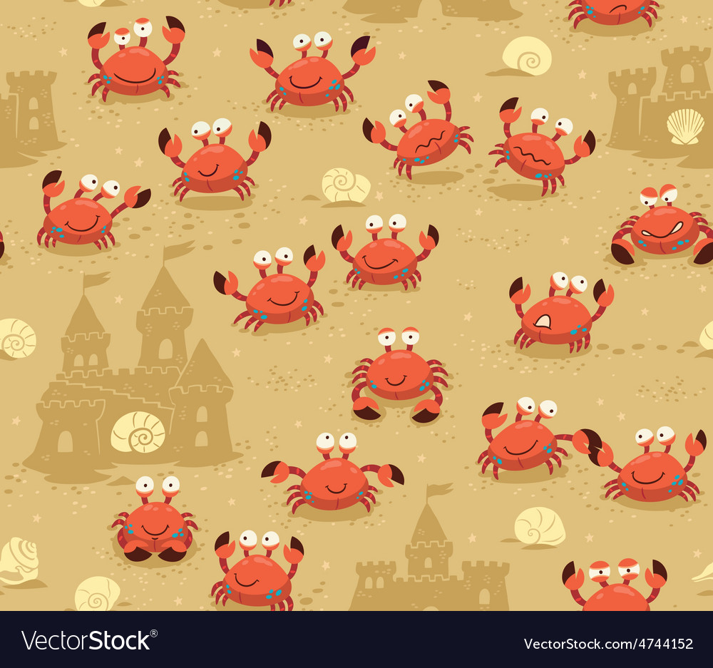 Seamless pattern with crabs and sand castles vector   Price: 1 Credit (USD $1)