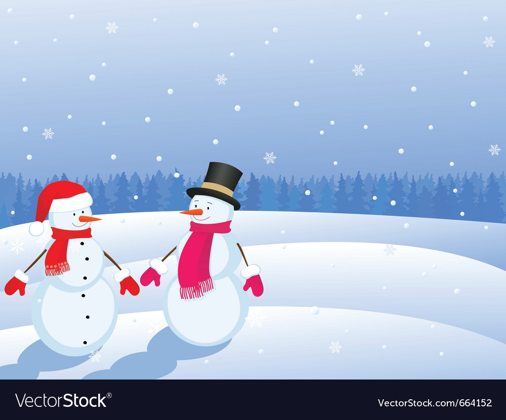 Snowmans in winter landscape vector | Price: 1 Credit (USD $1)