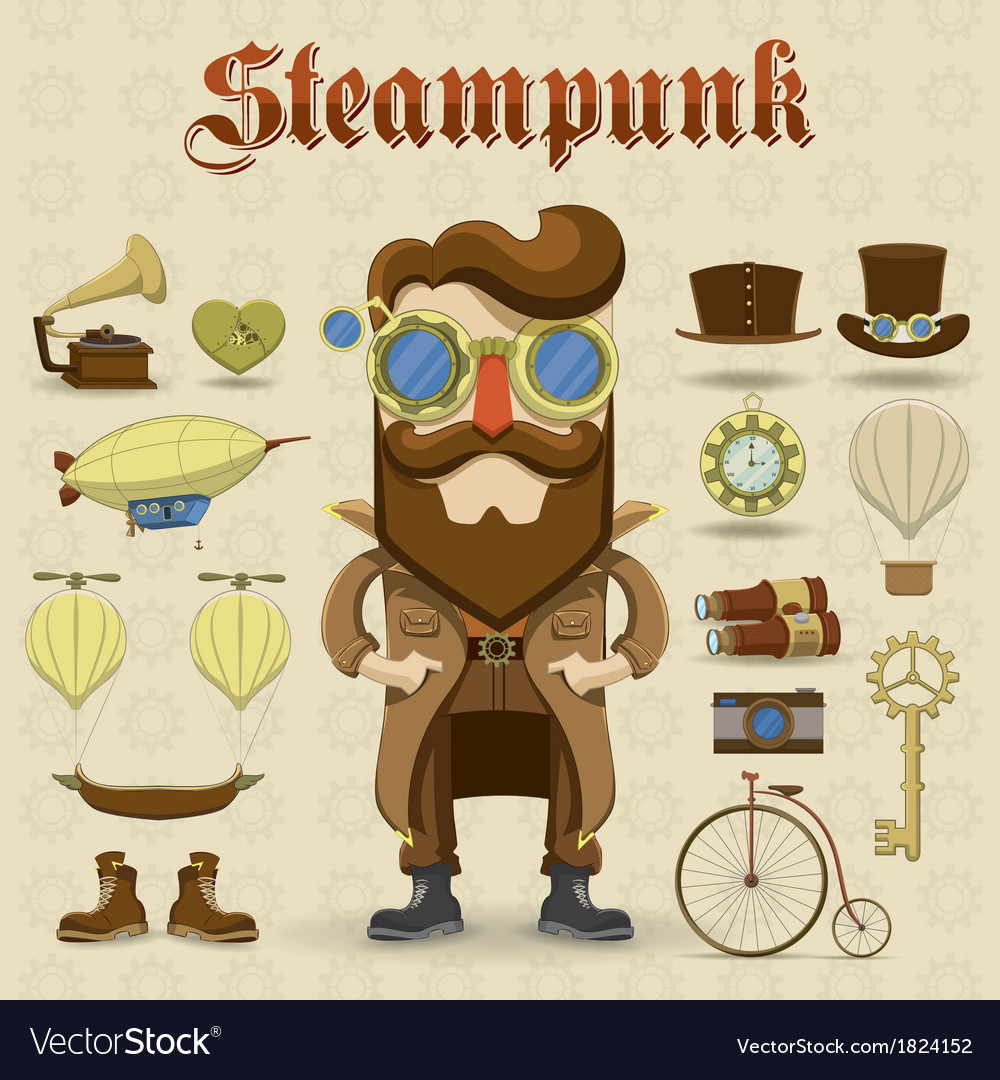 Steampunk character and elements icons vector | Price: 1 Credit (USD $1)