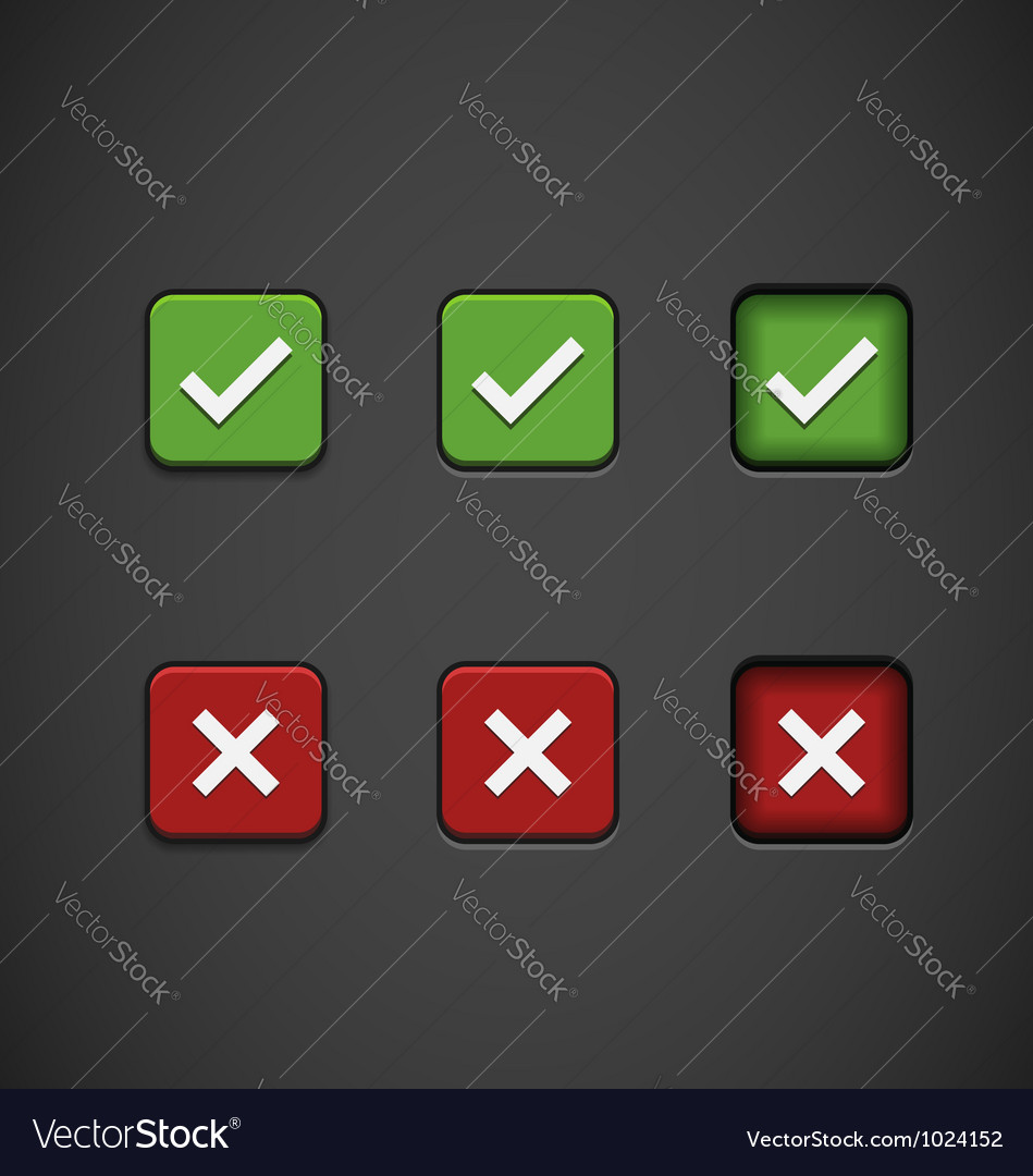 Three state buttons - confirm or reject vector | Price: 1 Credit (USD $1)
