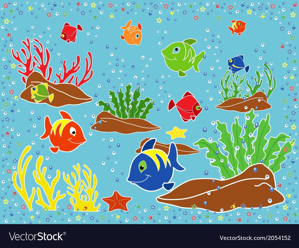 Underwater marine life vector | Price: 1 Credit (USD $1)