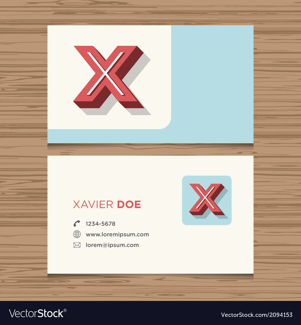 Business card letter x vector | Price: 1 Credit (USD $1)