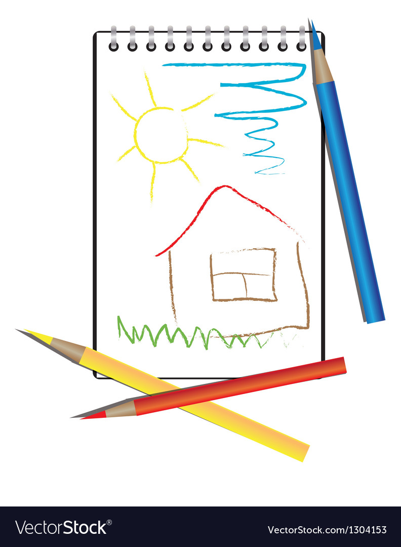 Childrens drawing and pencils vector | Price: 1 Credit (USD $1)