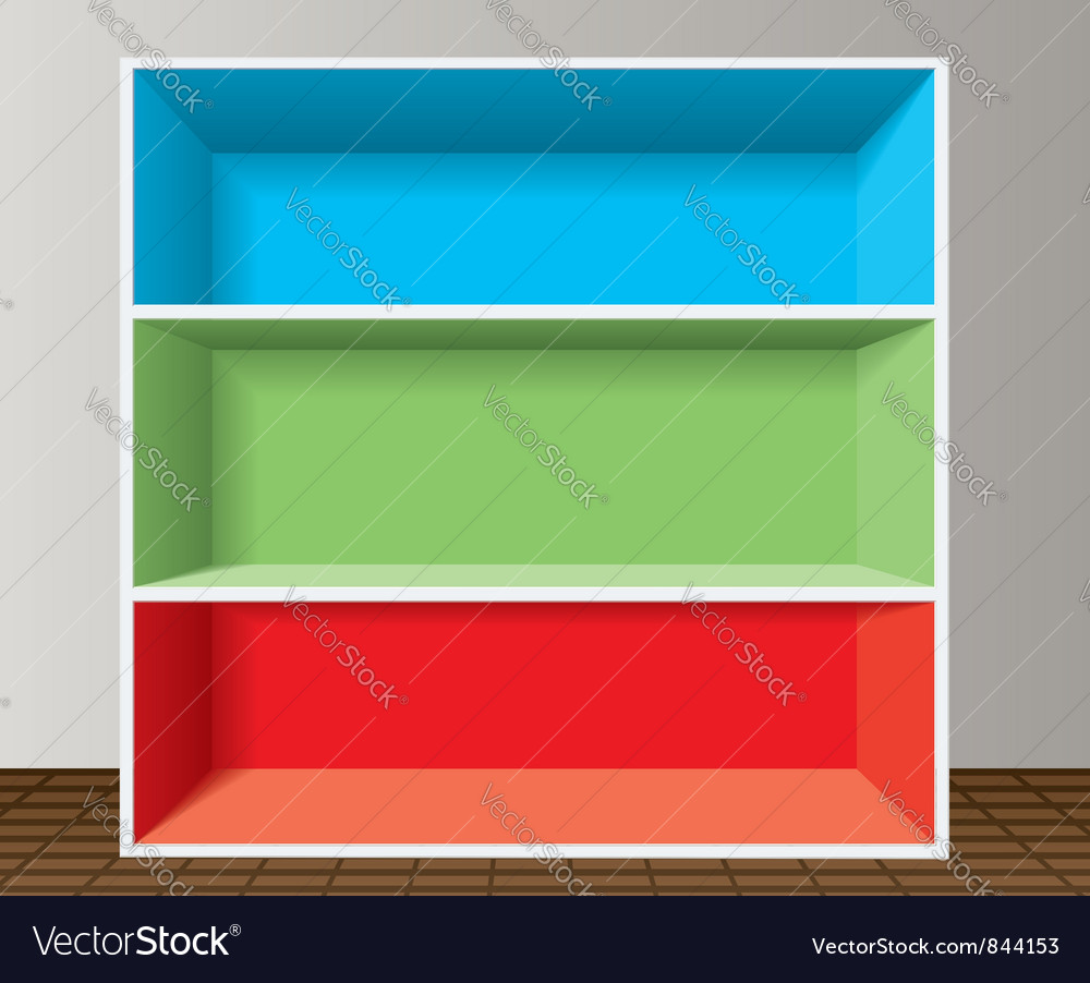 Colorful empty bookshelf vector | Price: 1 Credit (USD $1)