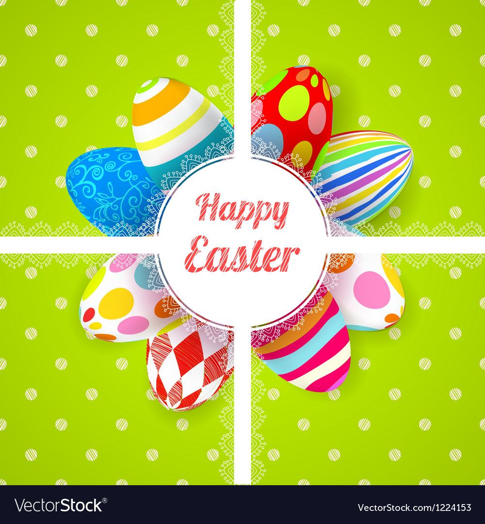 Easter green background card with ornament eggs vector | Price: 1 Credit (USD $1)