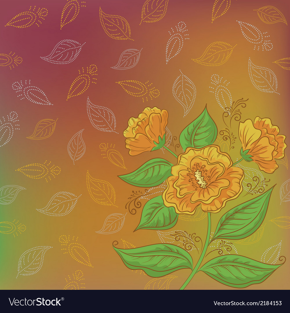 Flowers and leafs contours vector | Price: 1 Credit (USD $1)