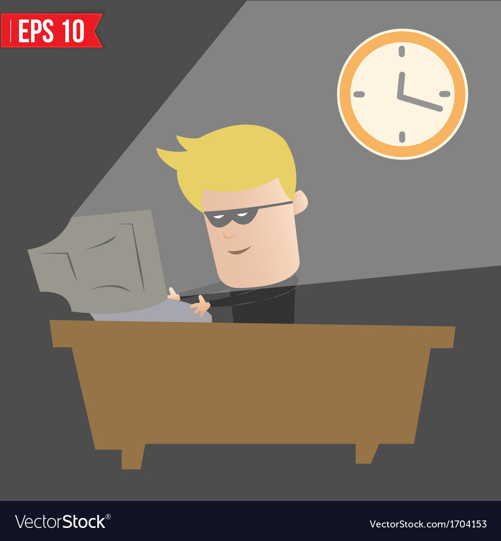 Hacker hacking on computer - - eps10 vector | Price: 1 Credit (USD $1)
