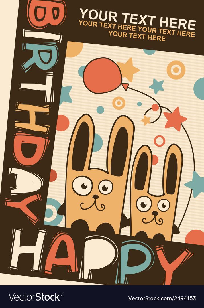 Happy birthday card with rabbits vector   Price: 1 Credit (USD $1)