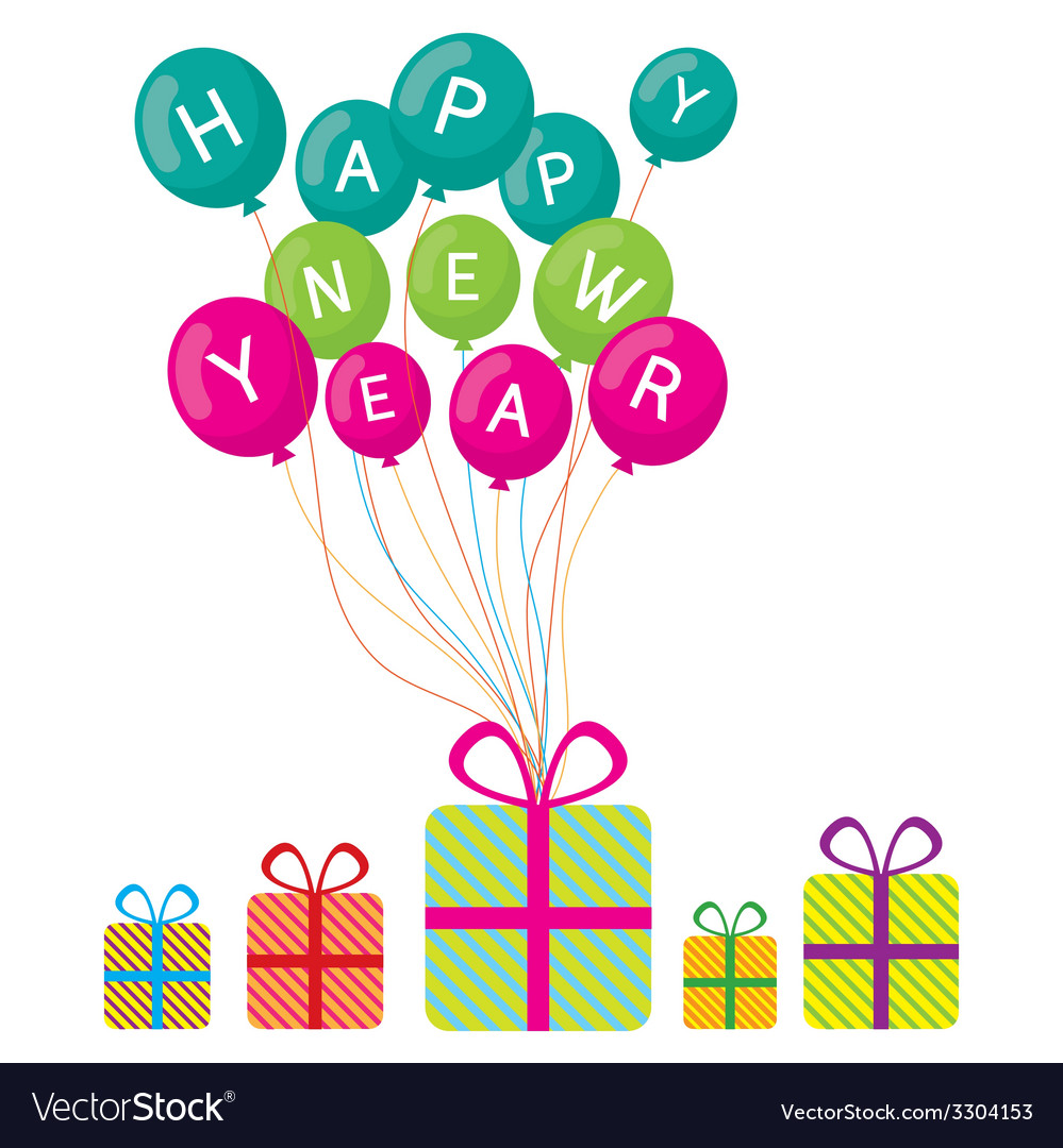 Happy new year and gift boxes vector | Price: 1 Credit (USD $1)