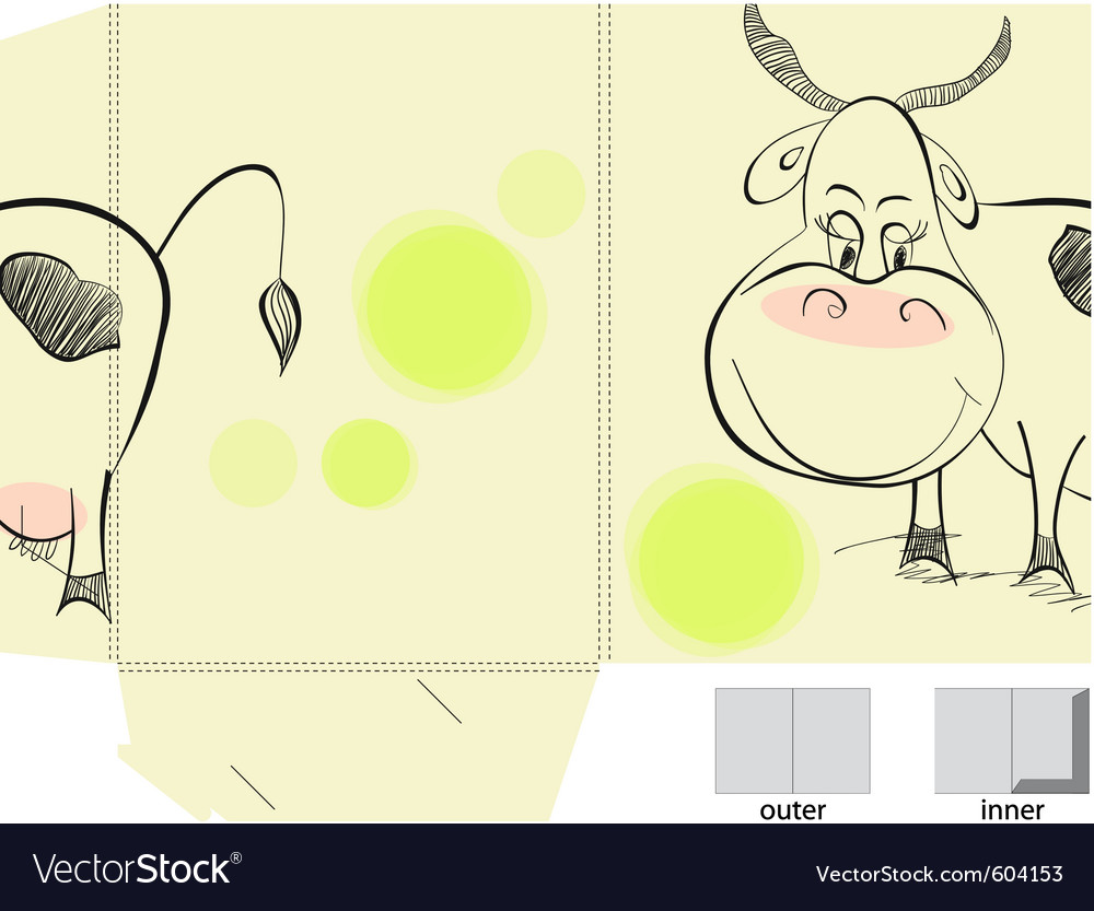 Template for folder with of cow vector | Price: 1 Credit (USD $1)