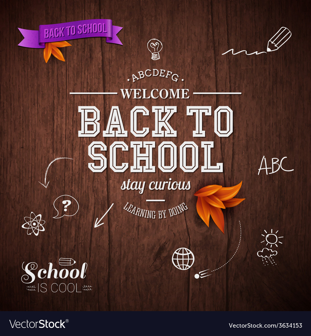 Vintage back to school card wooden background vector | Price: 1 Credit (USD $1)