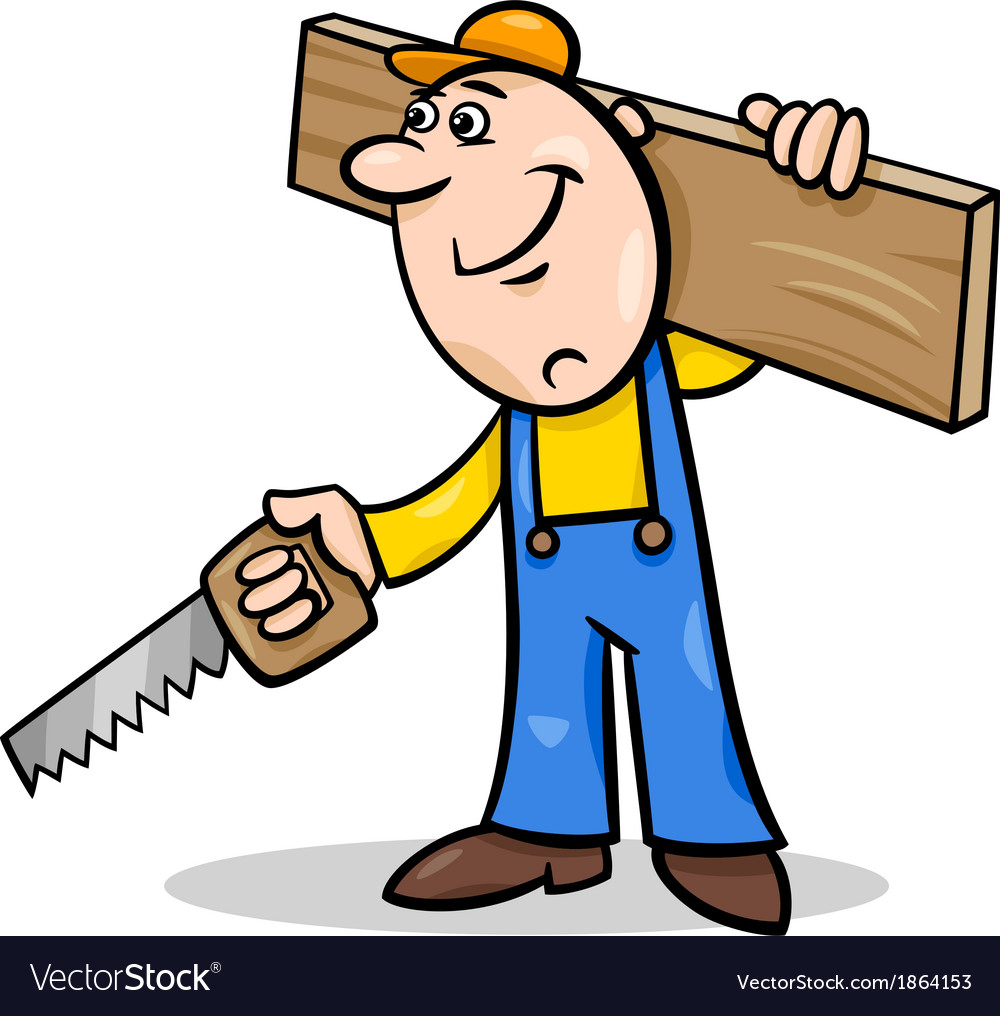 Worker with saw cartoon vector | Price: 1 Credit (USD $1)