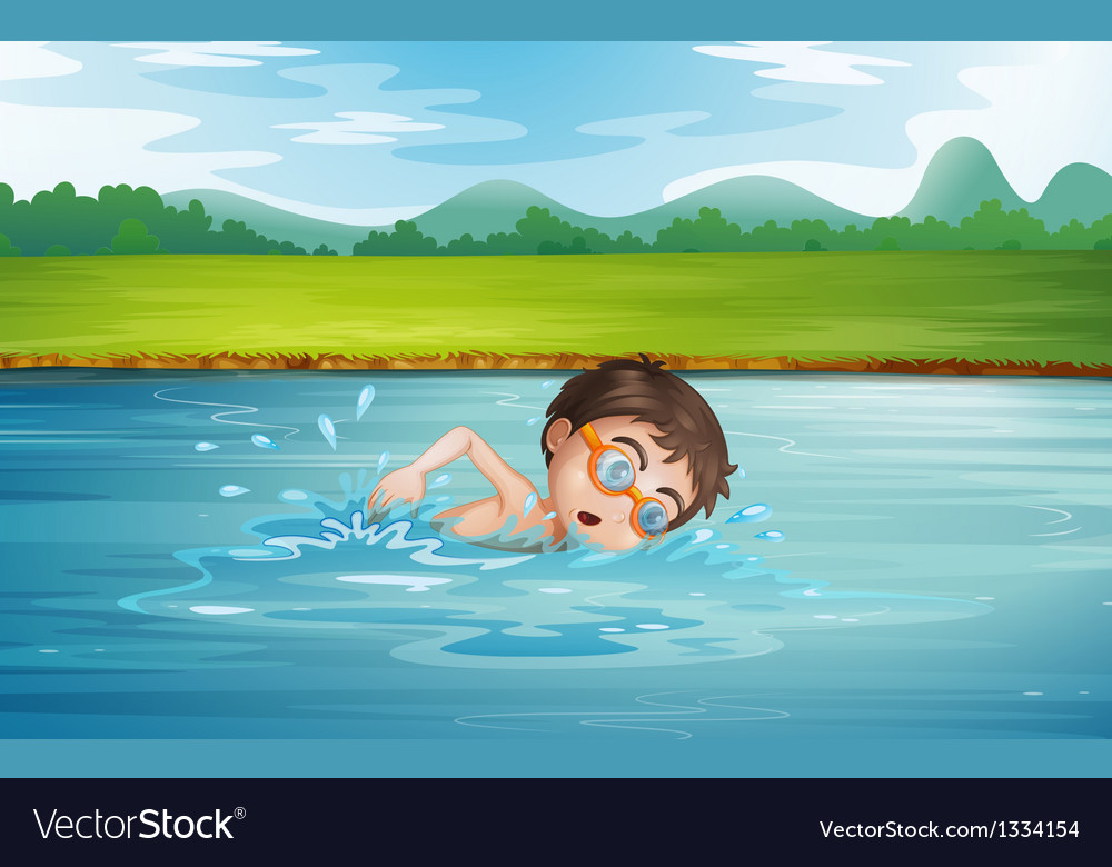 A young man swimming vector   Price: 1 Credit (USD $1)