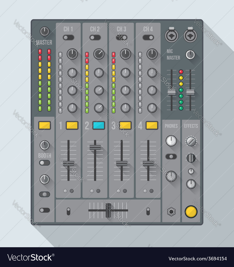 Flat style sound dj mixer vector | Price: 1 Credit (USD $1)