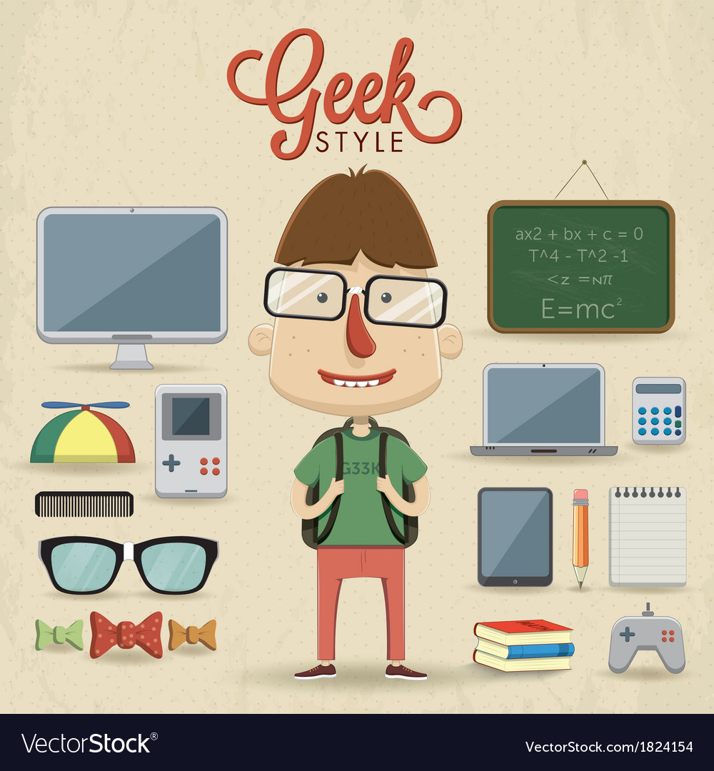 Geek character design vector | Price: 1 Credit (USD $1)