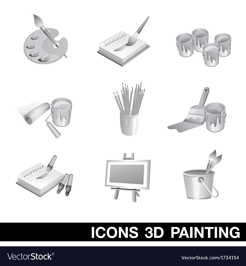 Icon set painting 3d vector | Price: 1 Credit (USD $1)