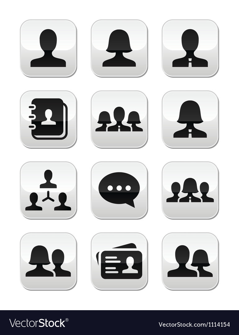 Man woman user buttons set vector | Price: 1 Credit (USD $1)