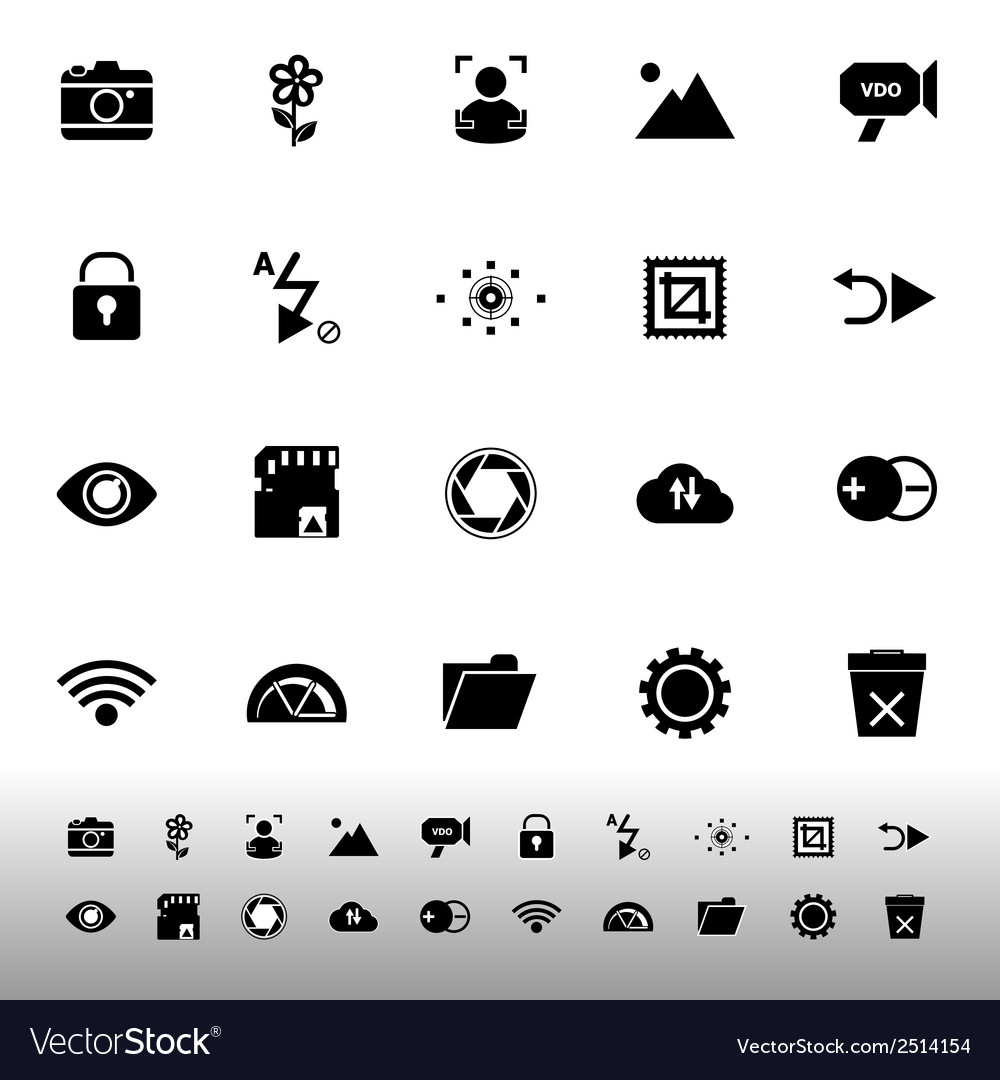 Photography sign icons on white background vector | Price: 1 Credit (USD $1)