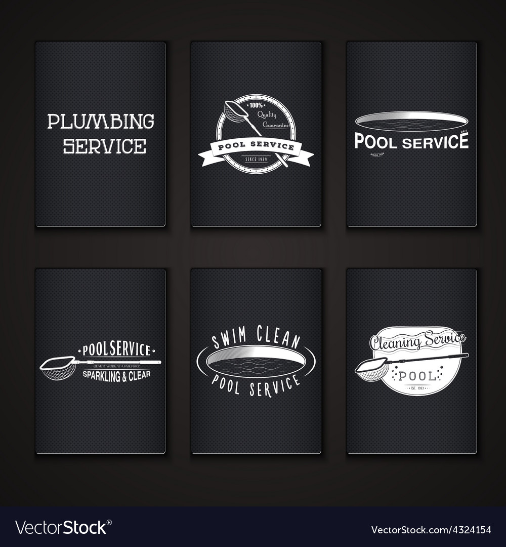Pool service clean and repair set of typographic vector   Price: 1 Credit (USD $1)