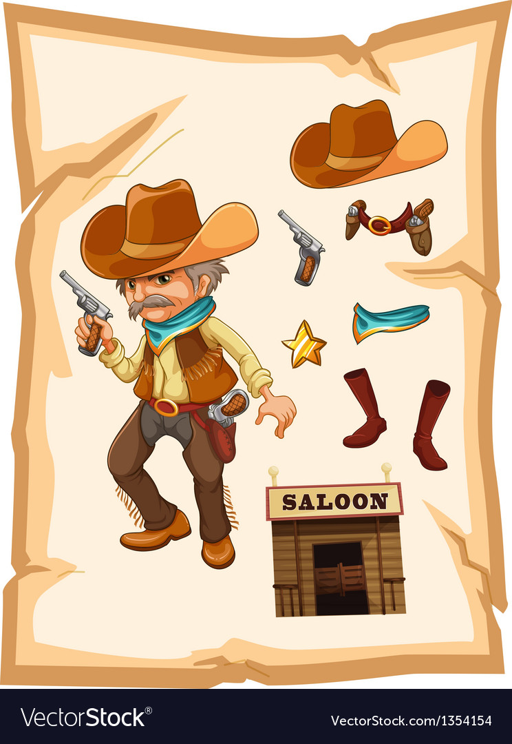 Saloon cowboy vector | Price: 1 Credit (USD $1)