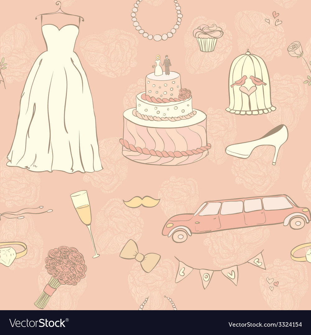 Wedding day pattern vector | Price: 1 Credit (USD $1)