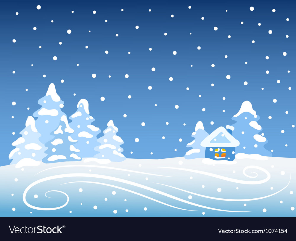 Winter landscape with house vector   Price: 1 Credit (USD $1)