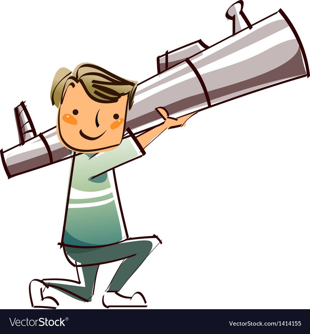 Close-up of boy holding missile vector | Price: 1 Credit (USD $1)