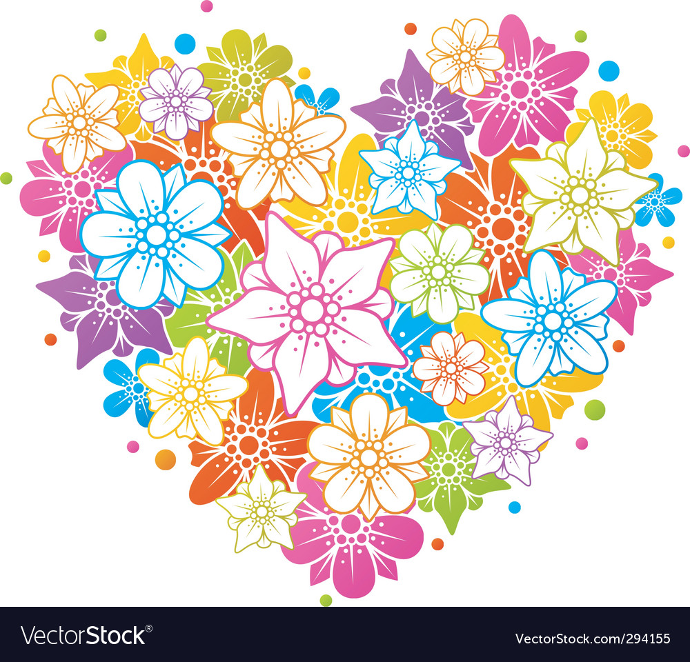 Colorful floral heart vector | Price: 1 Credit (USD $1)