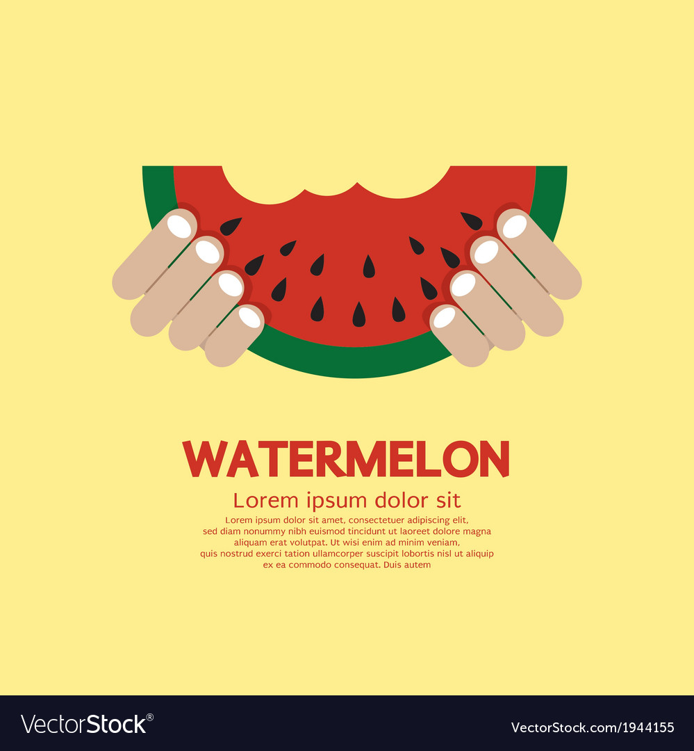 Hand hold a piece of watermelon vector | Price: 1 Credit (USD $1)