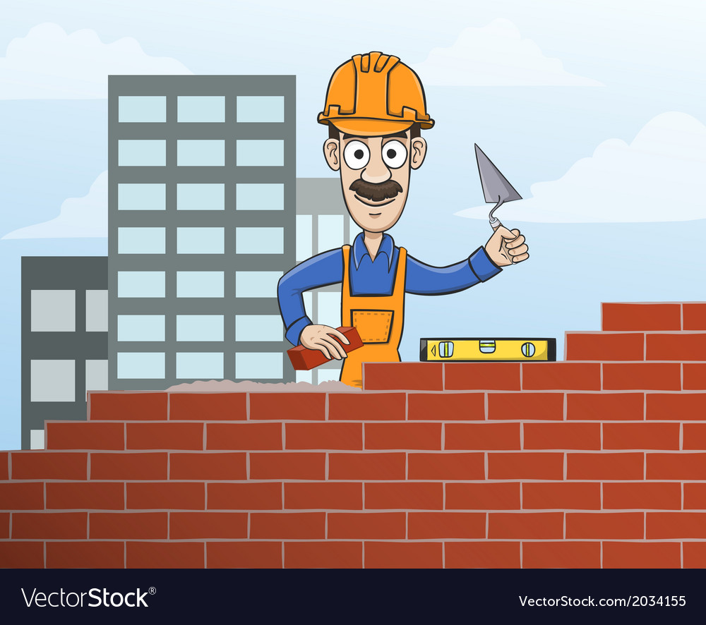 Mason building red brick wall vector   Price: 1 Credit (USD $1)
