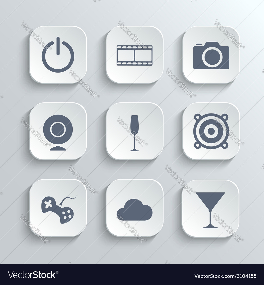 Multimedia icons set - white app buttons vector | Price: 1 Credit (USD $1)