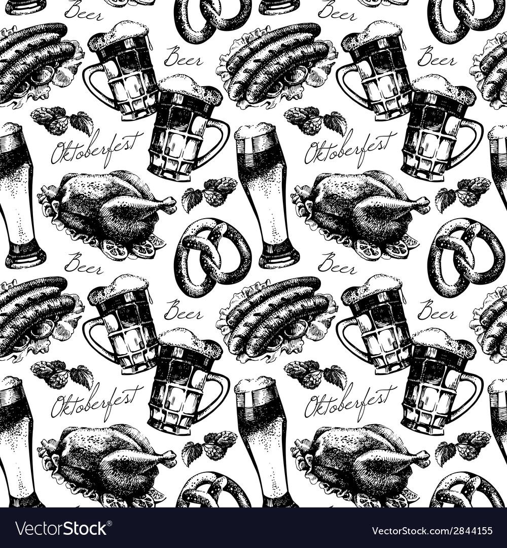 Oktoberfest vintage seamless pattern vector   Price: 1 Credit (USD $1)