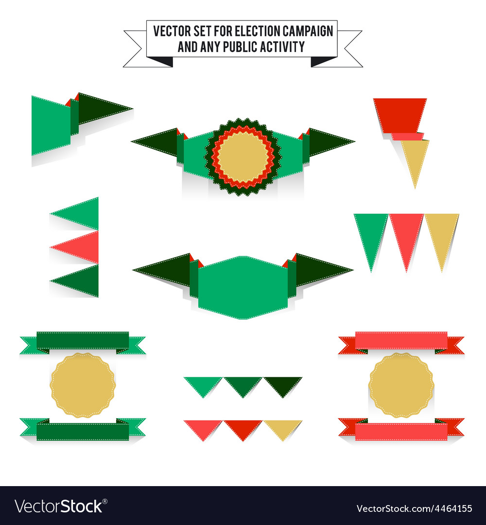 Set of elements on white background flags vector | Price: 1 Credit (USD $1)