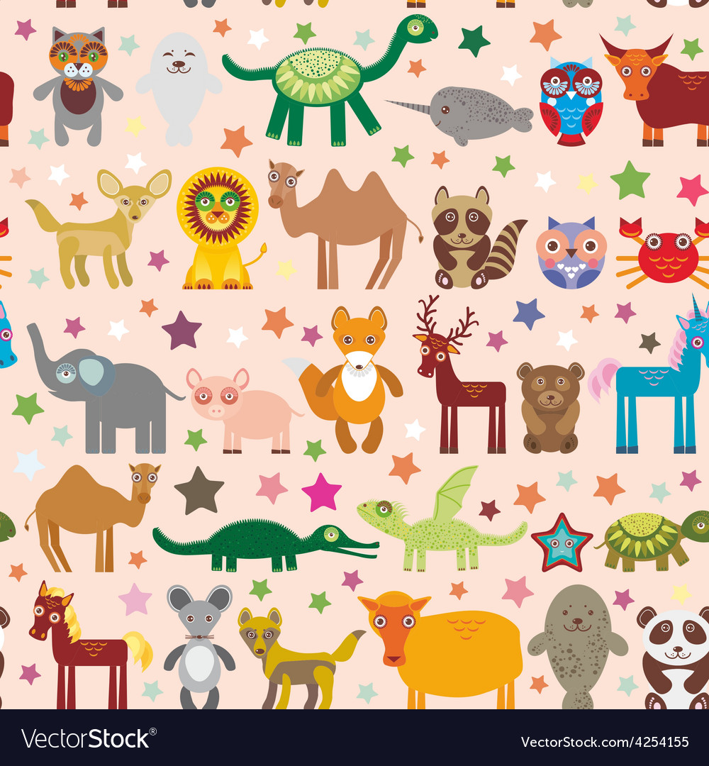 Set of funny cartoon animals character on pink vector | Price: 1 Credit (USD $1)
