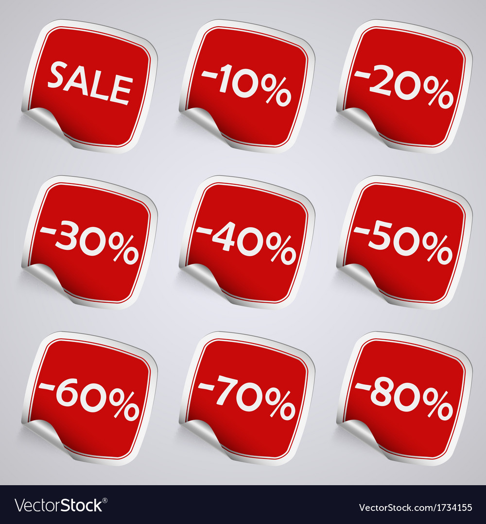 Set of red rectangle sale stickers vector | Price: 1 Credit (USD $1)