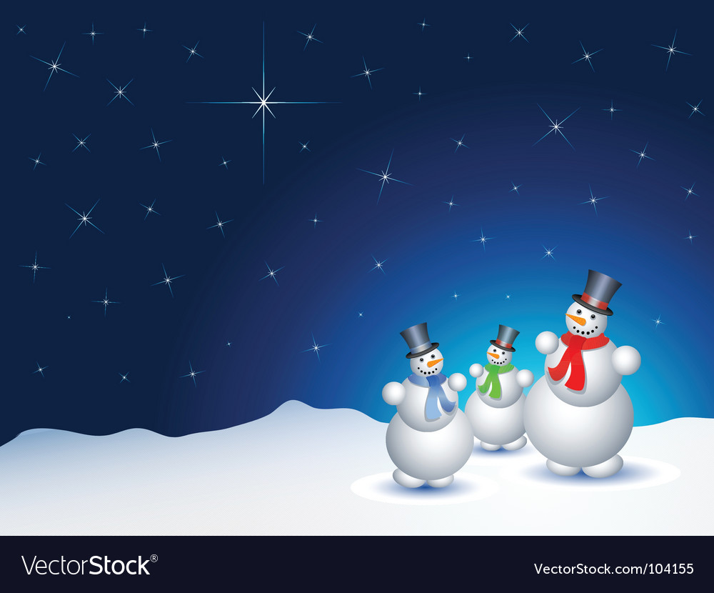 Snowmen on a snowy night vector | Price: 1 Credit (USD $1)