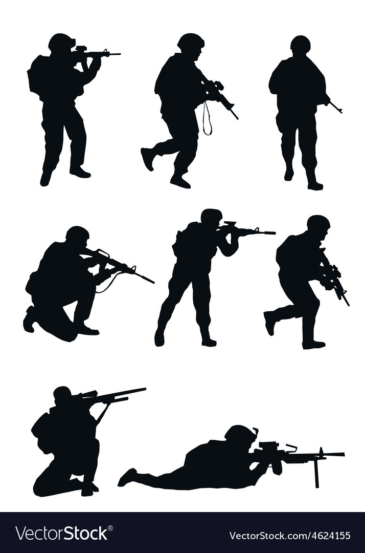 Soldiers silhouettes vector | Price: 1 Credit (USD $1)