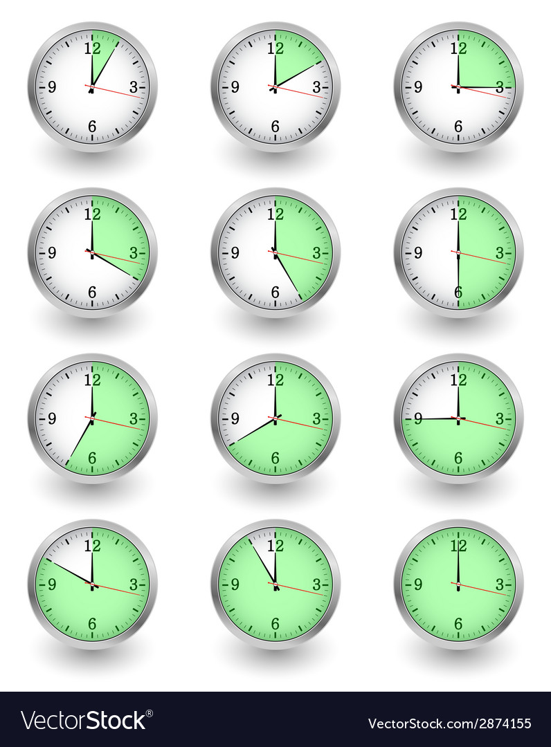 Twelve clocks showing different time on white vector | Price: 1 Credit (USD $1)