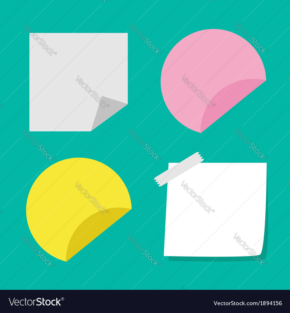 Adhesive paper notes and tag set template vector | Price: 1 Credit (USD $1)